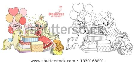 Mały radosny princess dar różowy sukienka Zdjęcia stock © liolle