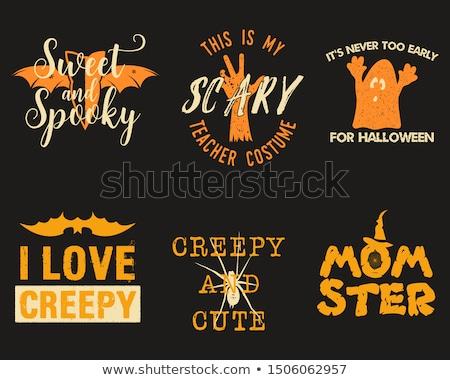 Halloween grafikus szett rövidujjú póló jelmezek díszítések Stock fotó © JeksonGraphics