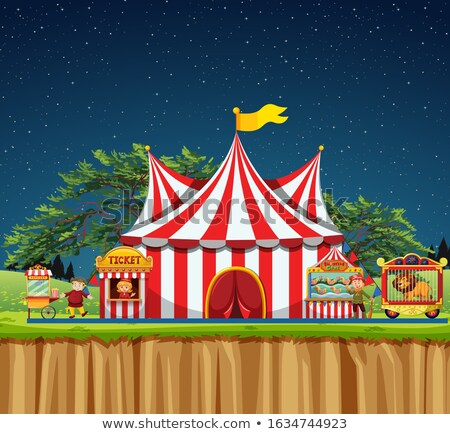 Circus scene with tent and lion in cage Stock photo © bluering