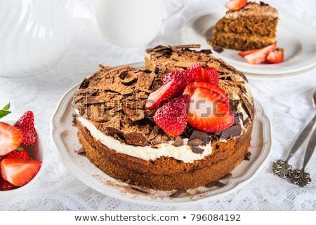 チョコレート パイ マスカルポーネ クリーム 背景 白 ストックフォト © Alex9500