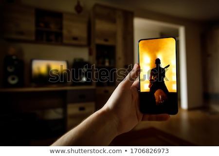 Yaşamak müzik video şarkıcı dizüstü bilgisayar Stok fotoğraf © AndreyPopov