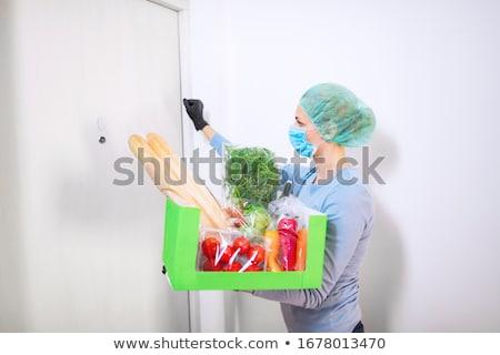 Házhozszállítás étel vírus koronavírus pánik futár Stock fotó © Illia
