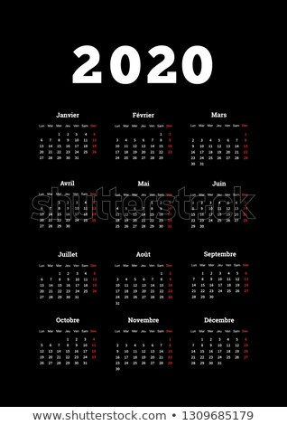 2020 year simple calendar on french language, A4 size vertical sheet on dark background Stock photo © evgeny89