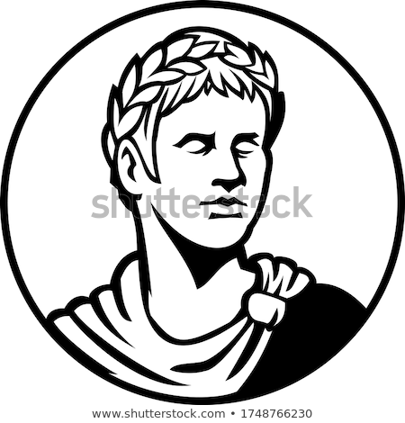 Ancient Roman Emperor Looking Side Circle Mascot Black and White Stock photo © patrimonio