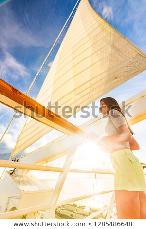 Luxury travel elegant woman on cruise ship yacht on jet set vacation sailing around the world. High  Stock photo © Maridav