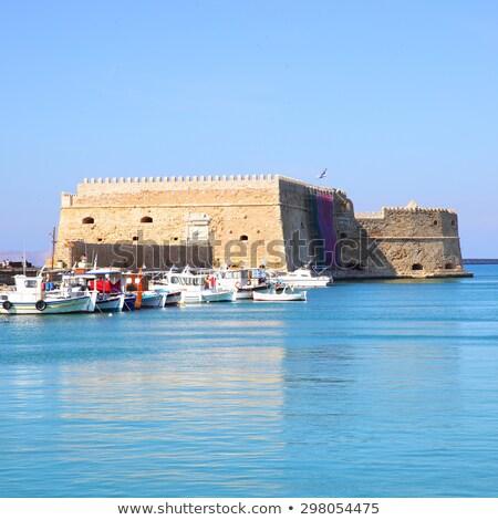 Veneziano forte pescaria barcos ilha Grécia Foto stock © dmitry_rukhlenko