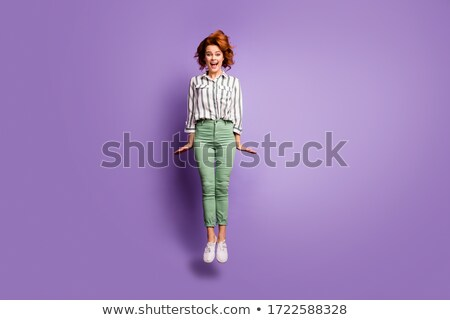 jovem · beautiful · girl · violeta · listrado · pano · branco - foto stock © RuslanOmega