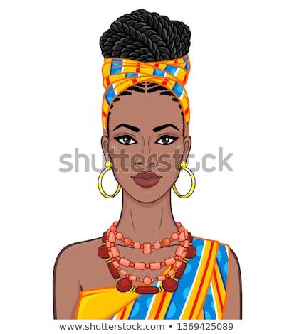 beauty woman in black bead Stock photo © Paha_L