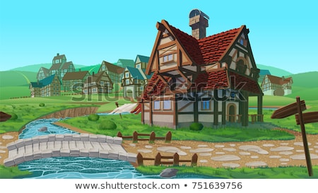 Summer Green Medieval Town stock photo © Alvinge