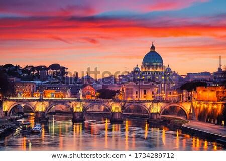 Roma İtalya Aziz Petrus Bazilikası gün batımı mimari din Stok fotoğraf © ndjohnston