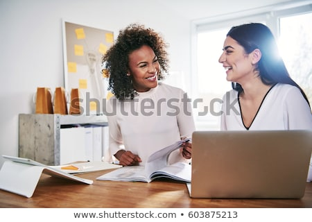 portret · vrolijk · lachend · zakenvrouw · pak - stockfoto © photography33