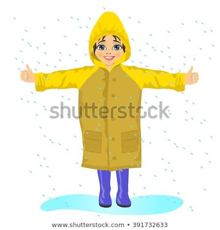little girl wearing raincoat stock photo © phbcz