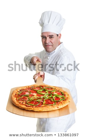 Foto d'archivio: Pizza Chef With A Wooden Peel