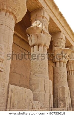 columns of hathor head goddess in philae temple egypt stock photo © frank11
