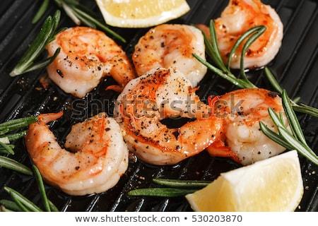 crevettes · grillés · dîner · bbq · plat · laitue - photo stock © M-studio