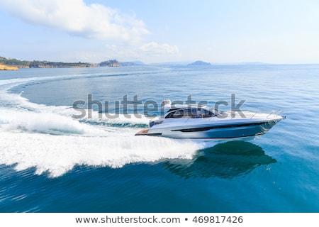 Prędkości łodzi Błękitne niebo Tajlandia wody podróży Zdjęcia stock © Witthaya