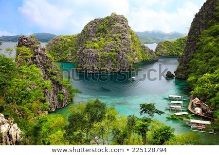 Tradycyjny Filipiny łodzi tropikalnych krajobraz wyspa Zdjęcia stock © joyr
