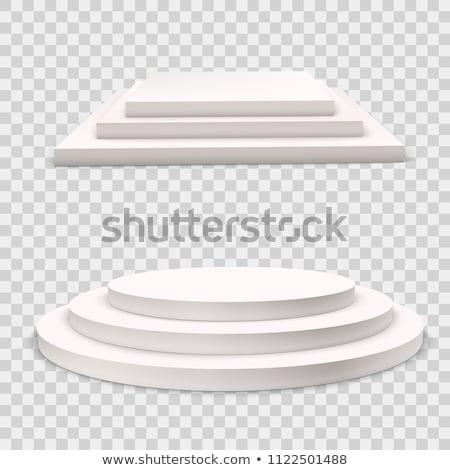 3 steps empty square podium on white background stock photo © lenapix