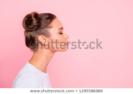 Tatlı kız göndermek öpücük gülümseme sevmek Stok fotoğraf © pedromonteiro