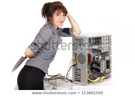 woman computer vengeance Stock photo © smithore