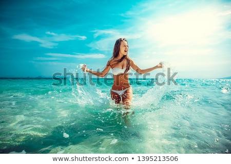 jong · meisje · gymnast · springen · licht · roze · meisje - stockfoto © zastavkin
