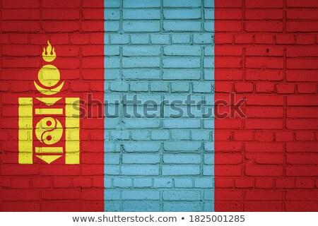 Zászló Mongólia téglafal festett grunge textúra Stock fotó © creisinger