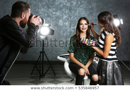 fashion girl make up backstage Stock photo © carlodapino