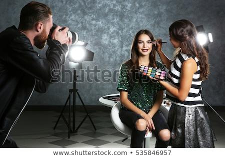 fashion girl make up backstage stock photo © carlodapino