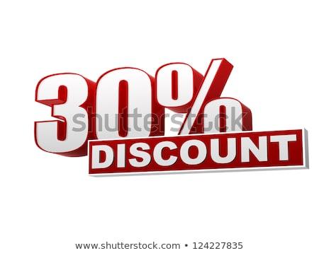 30 százalékok árengedmény piros fehér szalag Stock fotó © marinini