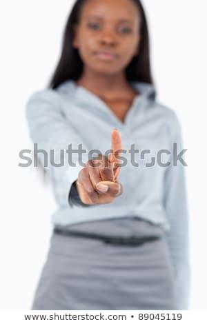 Empresária tocante invisível tela branco sorrir Foto stock © wavebreak_media