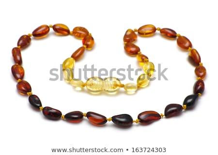 femme · ambre · perles · portrait · belle · femme · grand - photo stock © aikon