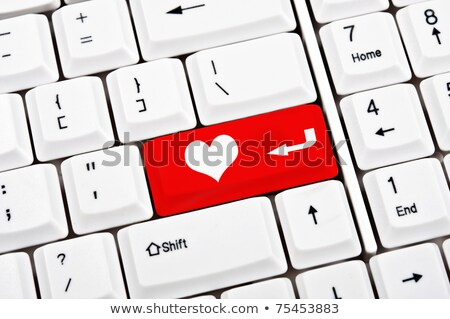 számítógép · billentyűzet · piros · kulcs · szeretet · közelkép · egér - stock fotó © maxmitzu
