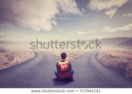 senalización · de · la · carretera · opciones · decisiones · cielo · azul · azul - foto stock © lightsource