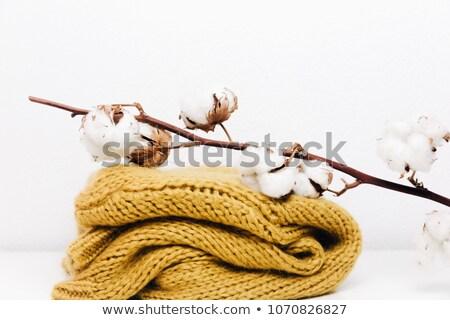 Laine fibre tricoté blanc noir monochrome mode Photo stock © Snapshot
