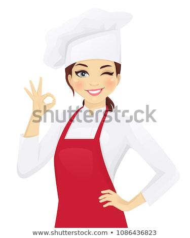 mosolyog · női · szakács · mutat · ok · kézjel - stock fotó © wavebreak_media