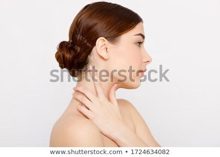 Stockfoto: Schoonheid · portret · meisje · grijs · hand · haren