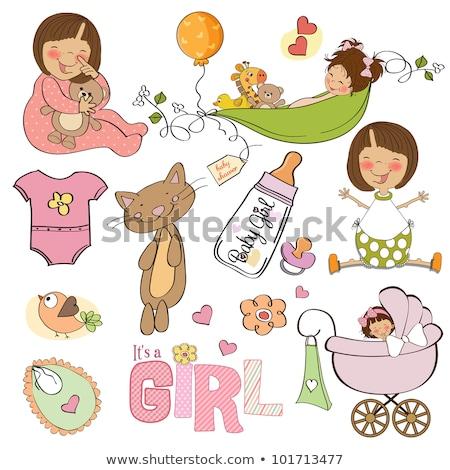 kislány · zuhany · kártya · kicsi · macska · vektor - stock fotó © balasoiu