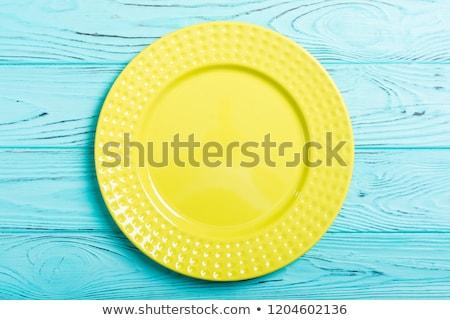 Stock fotó: Színes · üres · tányér · koszos · asztal · fényes