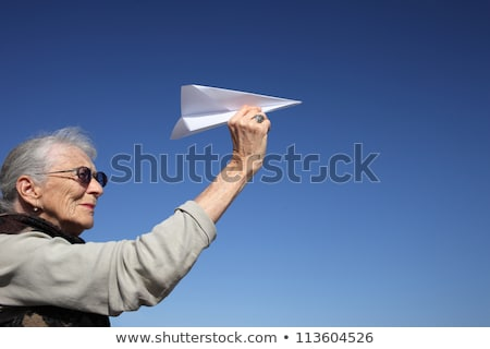 Hand aiming at at the blue sky copyspace Stock photo © ra2studio