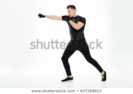 Stockfoto: Jonge · bokser · man · oefening · geïsoleerd · witte