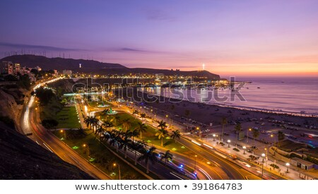 Lima Peru panorâmico praia pôr do sol ver Foto stock © pxhidalgo