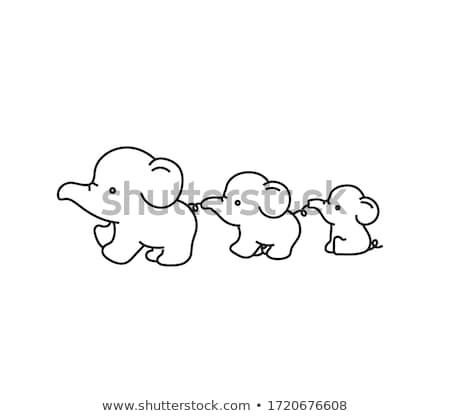 Stock fotó: Elefánt · család · rajz · imádnivaló · illusztráció · boldog
