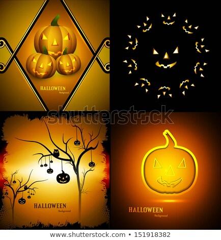 Foto stock: Feliz · halloween · festa · quatro · coleção · apresentação