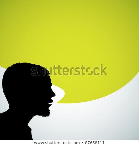 Groot hoofd tekstballon idee witte Stockfoto © limbi007