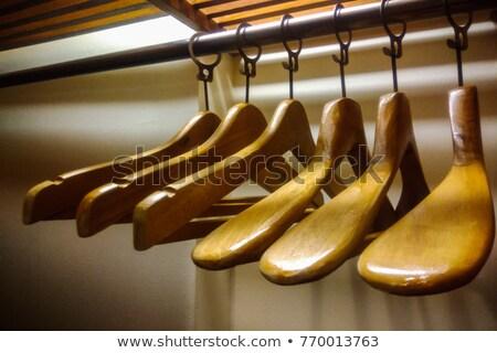 Szett fából készült kabát ruhásszekrény ruházat ruhafogas Stock fotó © LoopAll