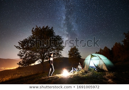 kempingezés · sátor · hegyek · nyár · mező · kék - stock fotó © mikko