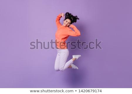 belle · expressive · brunette · femme · gris · fille - photo stock © lithian