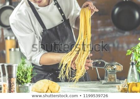 イタリア語 パスタ トマト チーフ 調理 男 ストックフォト © Elmiko