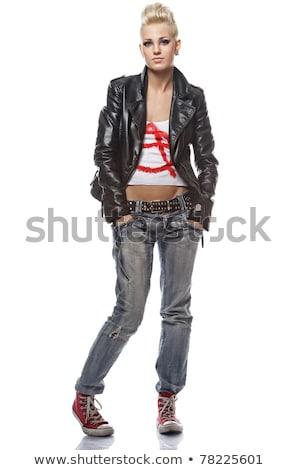 difícil · menina · jovem · loiro · jeans - foto stock © dnf-style