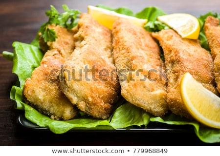 жареный · рыбы · лоток · таблице · фон · ресторан - Сток-фото © mikko